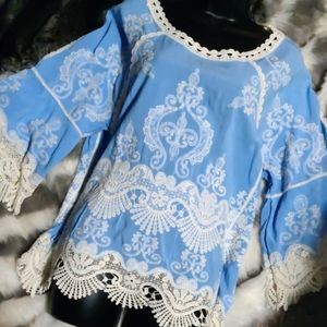 Democracy Sky Blue & Ivory crochet detail blouse